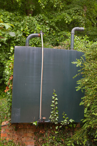 Domestic Oil Tank in Garden